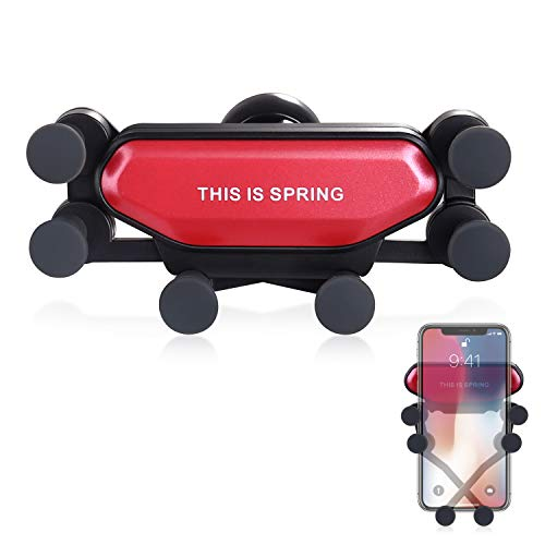 homeasy Handyhalterung Auto Lüftung Universal Stabil Handy Halter KFZ Phone Holder für 4,5 bis 6,5 Zoll Handy Upgrade Design Anti-Block Smartphone-Mount in Rot Mobile Blöcke