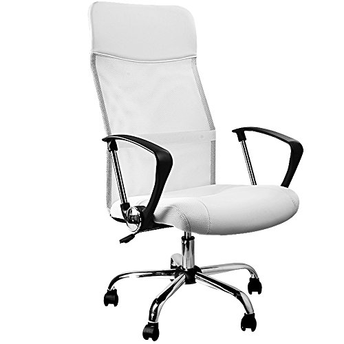 Office Swivel Desk Chair Executive High Back PC Computer Office Chairs White Padded PU Leather Tilt Function Ergonomic Armchair Racing Chairs with Net Cover