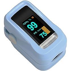 Oxímetro de Dedo GRDE, Medidor de Oxígeno en Sangre y Monitor de Frecuencia Cardíaca con Pantalla OLED, Pulsioxímetro Oxígeno en Sangre para Adultos y Niños Color Azul