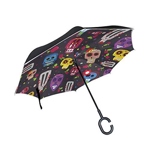 Ombrello da esterno Colorato floreale Giorno dei morti Cranio Patio Ombrello Città Ombrello inverso con impugnatura a C antivento per auto