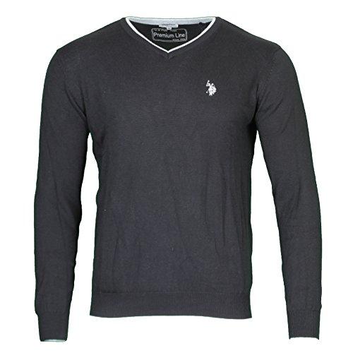 us-polo-assn-v-neck-sweater-herren-pullover-sweatshirt-schwarz-mit-ellenbogen-patch-173-42619-51894-