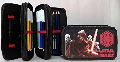 Star Wars Astuccio Triplo con Pennarelli ed Accessori Scuola, Poliestere, Nero, 20 cm
