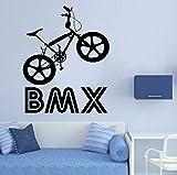 Qbbes Vinyl Kunst AbnehmbareWandbild Bmx Bike Sport Fahrrad Springen Reiten Wandaufkleber Jungen Kinderzimmer Kinderzimmer Aufkleber Dekor 42X52 Cm