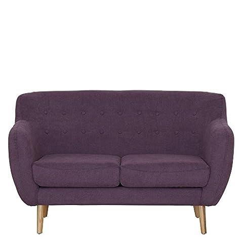 Sofa 2-sitzig Webstoff lila Lehne kapitoniert 142x85x88cm, SH 45cm - Modell Mont