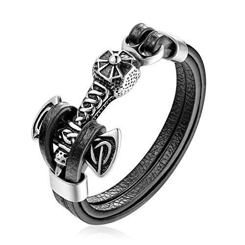 Daawqee Bracciale da Donna,Bracciali Stainless Steel Men Bracelet Double Wolf Shackles Black Charm Leather Bracelet Men Wristband Fashion Jewelry PG527