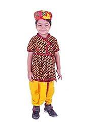 RTD Traditional Ethnic Fashion Black Yellow Kids Boy Pagdi Angrakha Dhoti Dress