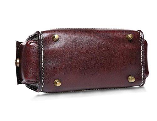 DJB/ Retro-Leder Womens geschlungen kleine Header Schicht aus pflanzlich gegerbtem Leder-Handtasche aus Leder chocolate
