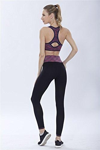 YeeHoo Donne Tracksuit Yoga Fitness Seamless Racerback Reggiseno + Pantaloni Imposta l'usura sportiva di allenamento Viola