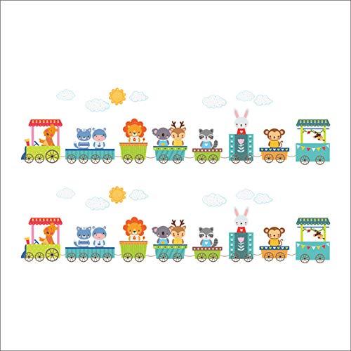 Cartoon animal car train adesivi murali per camerette per bambini stickers da parete per bambini nursery kindergarten room decor regalo per bambini