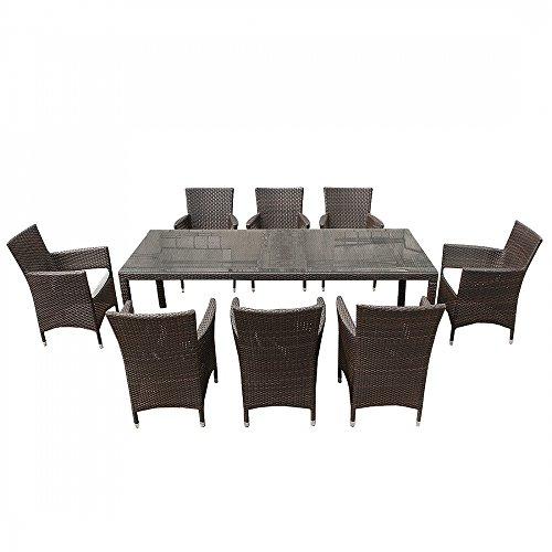 Tavolo 8 Sedie Rattan.Set Di Tavolo E Sedie Da Giardino In Rattan 220cm 8