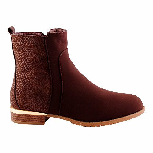 Damen Chelsea Schlupf Boots Stiefeletten Stiefel Schuhe Braun