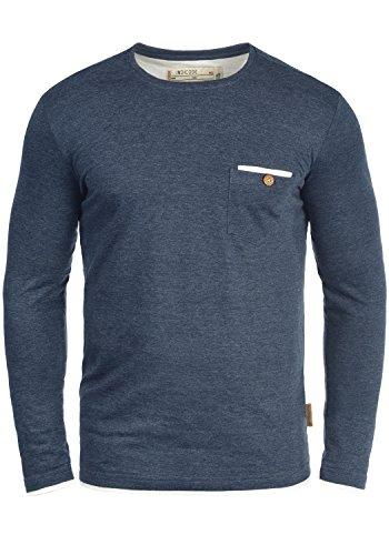 Indicode Sheridan Herren Longsleeve Langarmshirt Shirt Mit Rundhalskragen Und Brusttasche, Größe:L, Farbe:Navy Mix (420) -