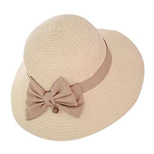 ra Hut Mädchen Junge Mode Jazz Panama Mütze Kappe Strand Sonnenhut Faltbarer Trilby Gangster Hut mit Sonnenschutz breite Krempe Strohhüte mit Bow Sommer Mütze ()