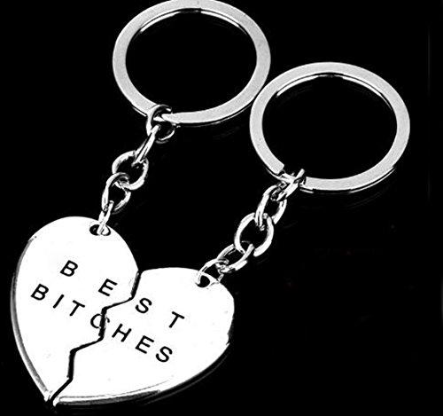 Ruesious Encantos Best Bitches Keychain, Best Friend KeyRing, BFF Keychain, Split Heart Key Ring, Mejor amigo Forever Love Jewelry Regalo de Navidad, Best Bitches Love Silver