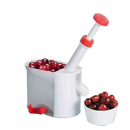 Silicone-Bakeware® Dénoyauteur trancheur Automatique pour Cerises Olive Cranberry Raisin Blanc 12 x 20 x 23 cm