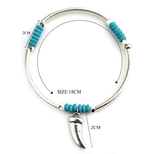 MHOOOA Trendy Bracelet & Bangles Kristall Perlen Wolf Zähne Anhänger Silber Metall Frauen Armbänder Mode Geschenke Schmuck