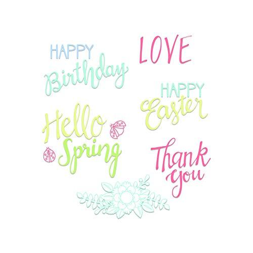 sizzix frasi di primavera fustella, multicolore, taglia unica