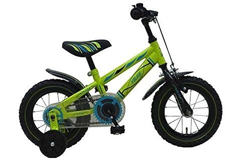 Vélo Enfant Garçon 12 Pouce avec Roues de Stabilisation et Frein à Rétropédalage vert