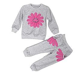 Fulltime(TM) Spring Autumn Children Infant Girls Sunflower Shirt + Pants Costume Clothes Sets