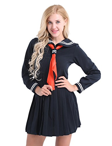 dPois Damen Mädchen Japanisches Schuluniform Kostüm Set Matrosenanzug Minirock Langarm mit Halstuch Cosplay Uniform für Party Halloween Fasching Marineblau XX-Large (Schuluniform Kostüm Party)
