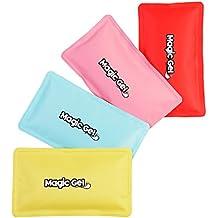 2 Compresas de Gel Frío/Calor Premium (re-usables) con Bandas Ajustables al Cuerpo y una Bolsa para su Almacenamiento de MagicGel (Azul)