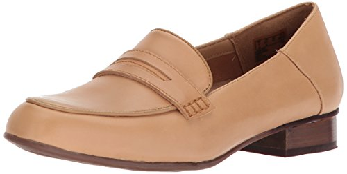 CLARKS Women's Keesha Cora Penny Loafer, Light tan Leather, 12 Wide US