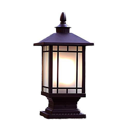 Wylolik Rustikales Außenkappenlicht Beliebte Europa Quadratische Stehlampe Externe Retro Wasserdichte Glaslaterne Spalte Licht Garten Balkon Villa Straßenlaterne Gemeinschaftskorridor Chapitar Lampen