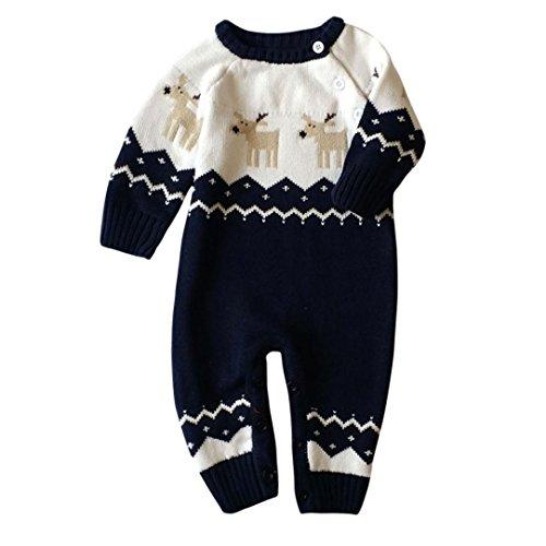 ropa niños navideña AIMEE7 recién nacido bebé renos de navidad mameluco ropa suéter hecho punto traje (Azul, 4-8 meses)