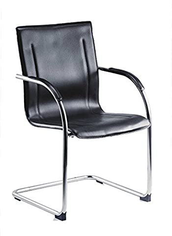 Tipton Contemporary Leather Effect Reception Black Chair With Polished Chrome