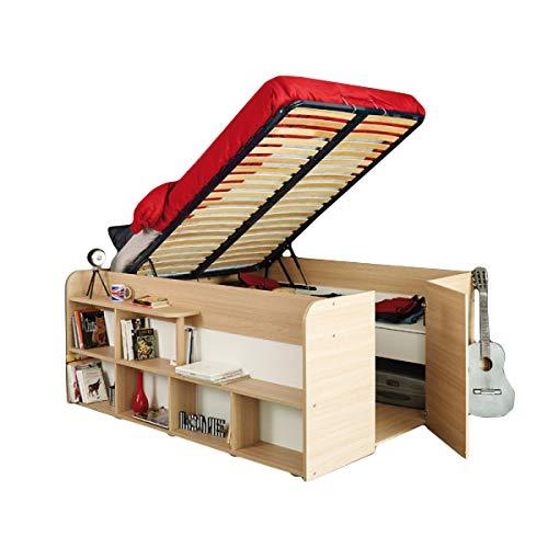 Funktionsbett Aaliyah 140 * 200 cm Beige Buche inkl Hydraulik + 2 Roll-Bettkästen + Kleiderschrank Kinderbett Jugendbett Bett Kind Jugendzimmer