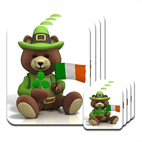 St Patricks Day Ours-Drapeau irlandais & trèfle Lot de 4 dessous-de-verre en bois brillant & de table