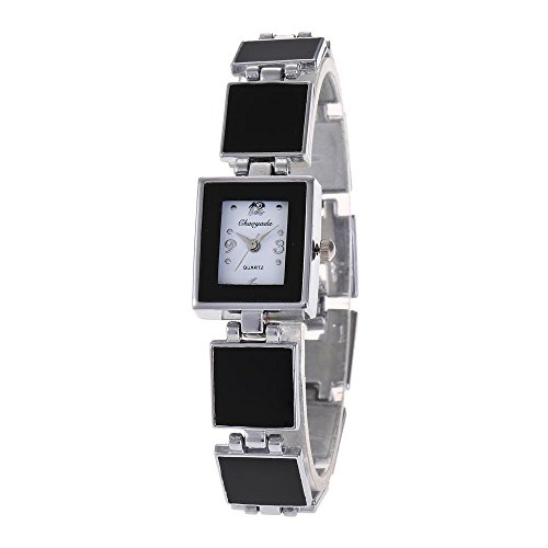 YAZILIND Quarz Armbanduhr klassisch Schwarz weisses Zifferblatt Titanium Stahlband Quadratisches Armband