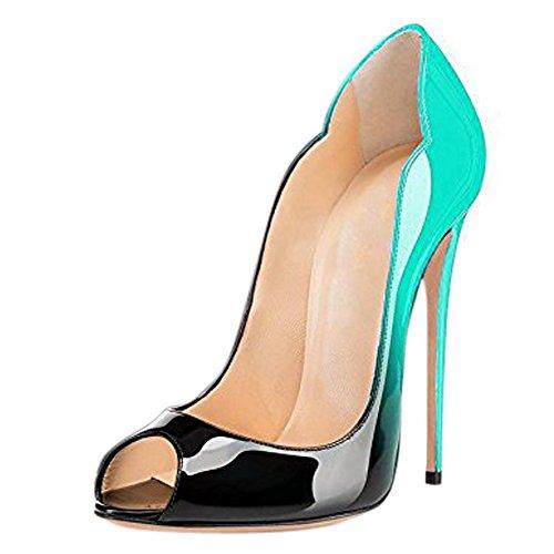 Damen Peep Toe Pumps Lack High-Heels Stiletto Hochzeit Party Rutsch Gradients Türkis