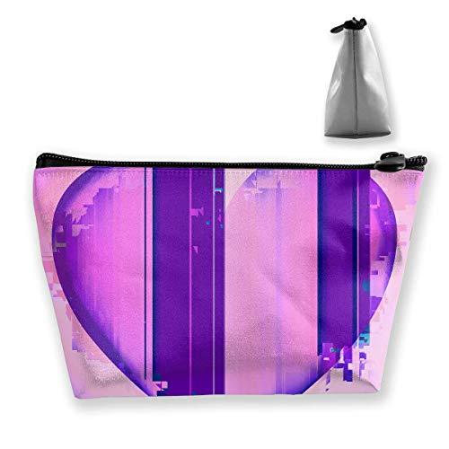 Kosmetiktasche Kosmetik Glitch Purple Love Mobile Trapezoid Tragbare Reisekosmetiktasche