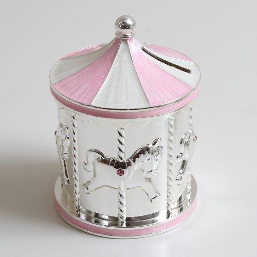 Argent plaqué Carrousel Tirelire rose