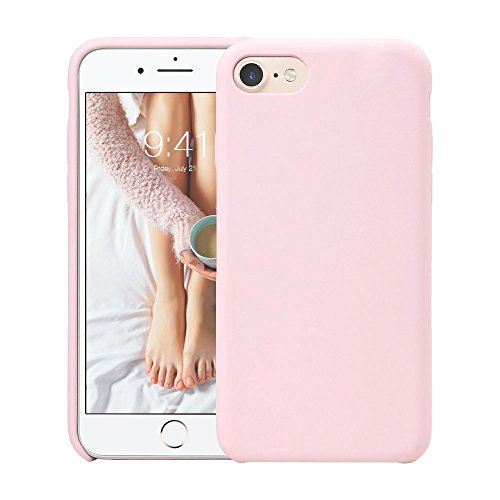 Custodia iphone 8, fuleadture [supporta la ricarica wireless] iphone 7 custodia antiurto gomma gel silicio liquido con fodera tessile microfibra morbida anti-graffio e anticaduta caso silicone ultra sottile protettiva cover per apple iphone 8/ 7