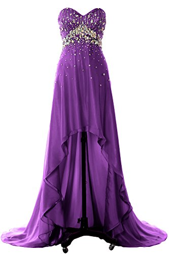 MACloth Women Hi Lo Crystal Long Prom Homecoming Dress Formal Evening Party Gown purple