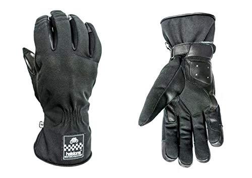 HELSTONS One - Guanti da moto invernali in tessuto, colore: Nero/Nero, T12