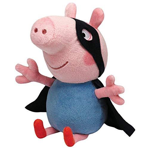 TY Auswahl Plüsch-Figuren Beanie Babies | Peppa Wutz | Peppa Pig | 15 cm Softwool, Figur:George Superheld