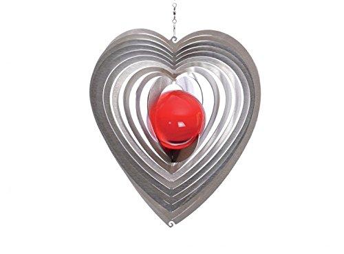 Illumino Edelstahl-Windspiel Herzy Midi mit rubinroter 35mm Glaskugel