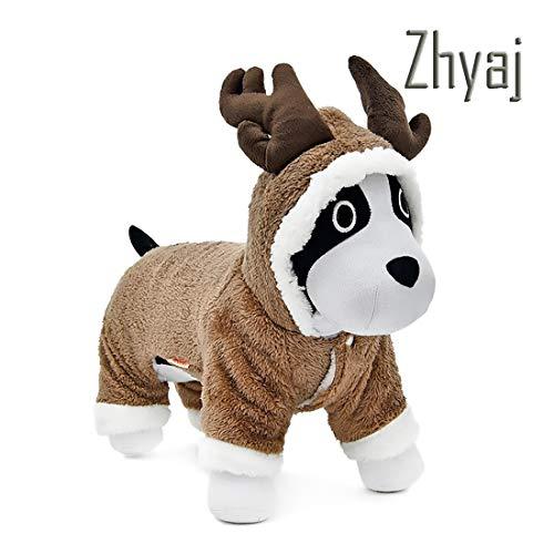Kostüm Niedlichen Welpen - Zhyaj Pet Cosplay Kleidung in Weihnachten Wapiti Form Kleidung Welpen Niedlichen 4 Beine Kostüm Festival Kleid up Wärmemantel für Hund Haustier Mit Hut (Ohne Modelle),Product,S