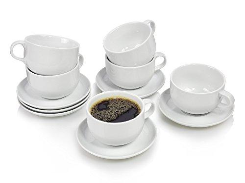 Bluespoon Kaffeetassen Set aus Porzellan mit Untertassen aus Porzellan 12 teilig | Genießen Sie Ihren frisch aufgebrühten Kaffee aus diesen zeitlosen Tassen | Perfekt abgerundetes Set für Ihre nächsten Kaffee-Klatsch