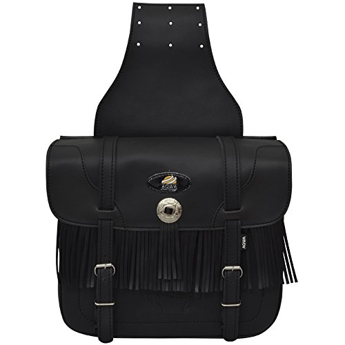 Aqwa Motorrad Universal Satteltasche Motorrad Synthetisches PU-Leder Fransen Braid Design Staubbeutel Packtaschen Paar schwarz