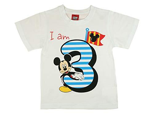Jungen Baby Kinder dritter Geburtstag Kurzarm T-Shirt 3 Jahre Baumwolle Birthday Outfit GRÖSSE 98 104 Mickey Mouse Disney Design in Weiss oder Blau Babyshirt Oberteil Hemd Polo Farbe Weiss, Größe 98