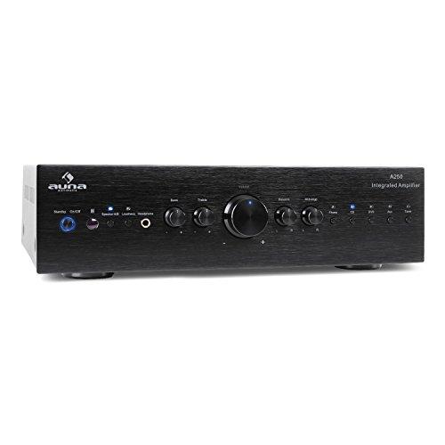 auna CD708  Stereo HiFi Heimkino  Audio-Verstärker  125 Watt RMS Leistung  5 x Stereo-Cinch-Line-Eingang  1 x Cinch-Line-Ausgang  Fernbedienung  frontseitiger Kopfhörer-Ausgang  massive Frontblende aus gebürstetem Aluminium  schwarz