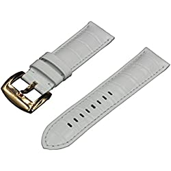Crocodile Grain Padded Italian Calfskin Leather Watch Band With Polished Rose Gold Buckle