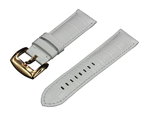Poliertes Kalbsleder (Uhrarmband 24 mm, Krokodil-Maserung gepolstertes Kalbsleder in Weiss und Poliert Rose-Gold Edelstahl-Schliesse)