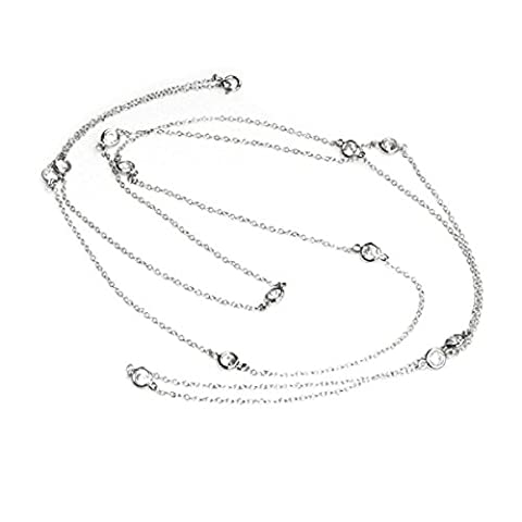 Queenberry Sterling Silver Round Clear Cubic Zirconia Link Chain Necklace, 36''