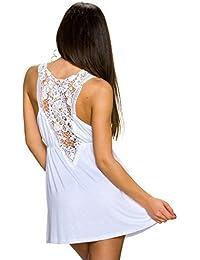 muse Damen Minikleid Mini Kleid mit Häkel Spitze V-Ausschnitt aus Jersey | Sommerkleid Partykleid Strandkleid