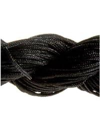13metros hilo Nylon Cordón macramé joyas perlas para pulsera Shamballa–negro/1.5mm